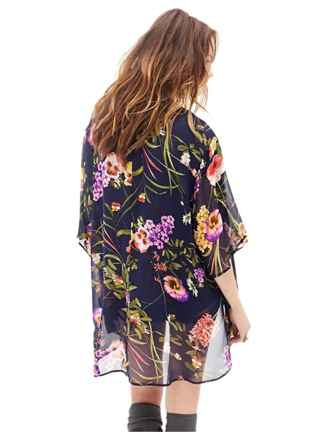 Stylish Floral Open Front Loose Kimono Coats