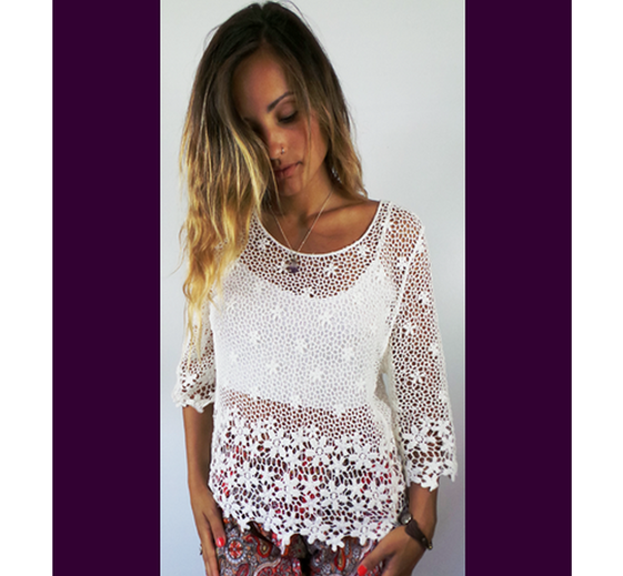 Drop Back Flower Lace Top in White Cream Grey and Gold