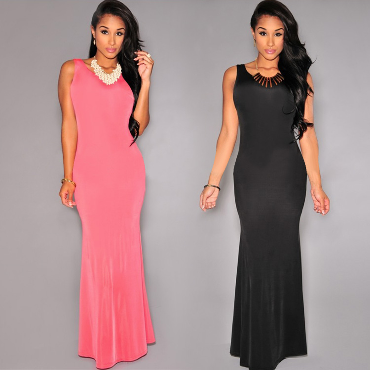 Ladies Sexy Sleeveless Casual Long Dresses