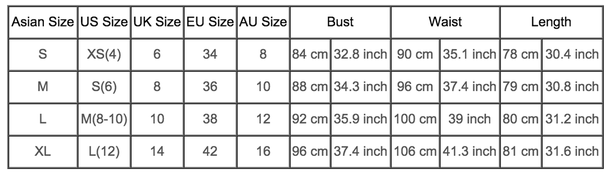 Womens International Clothes Sizing