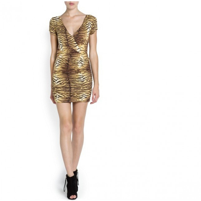 Sheath Above Knee Leopard Dresses
