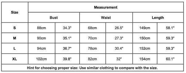 formal wedding dress size chart
