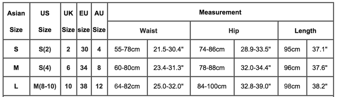 womens online skirts sizing chart