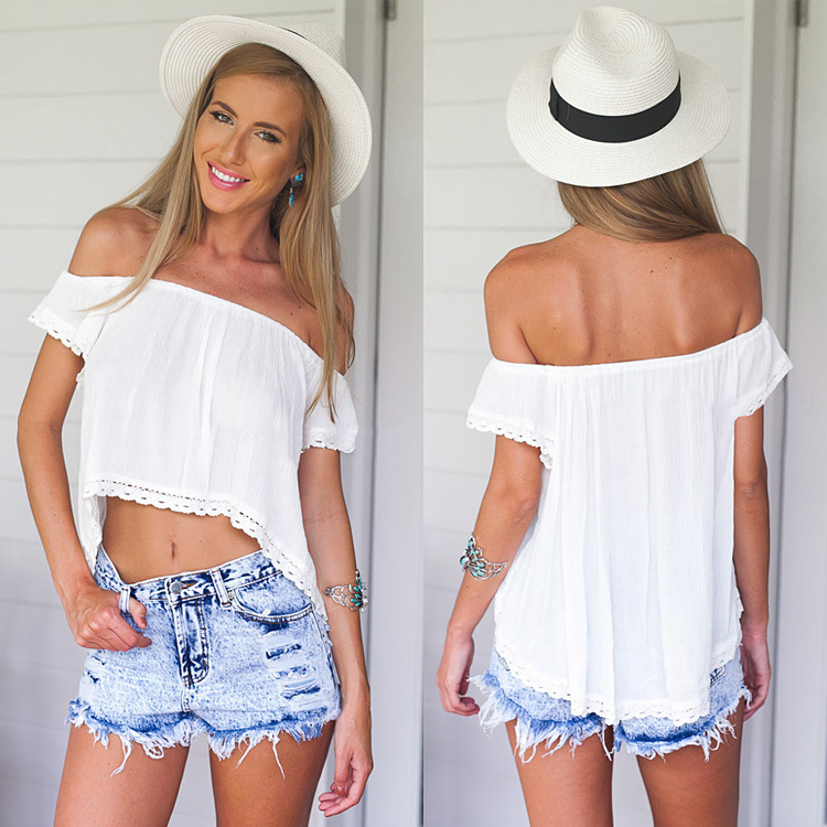 Stylish Ladies White Lace Blouse Tops Short Sleeve
