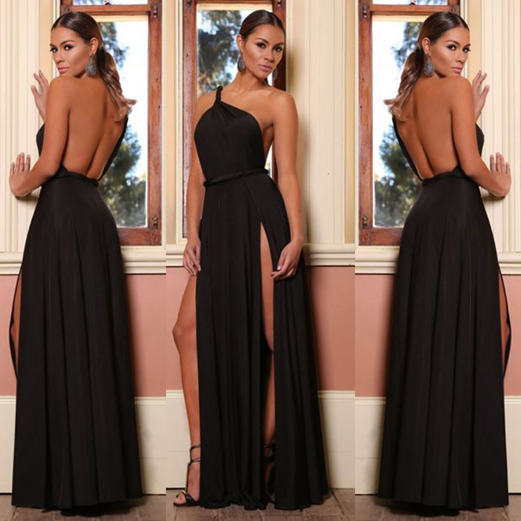 Sexy One Shoulder Backless High Waist Maxi Long Evening Dresses