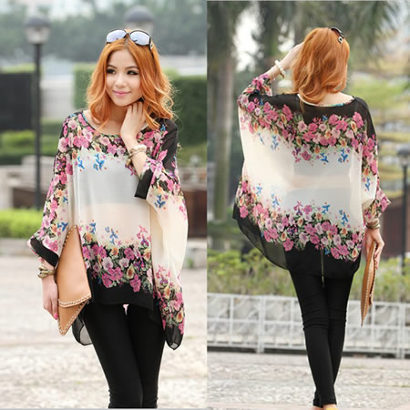 Ladies Bohemian Style Oversized Floral Chiffon Tops