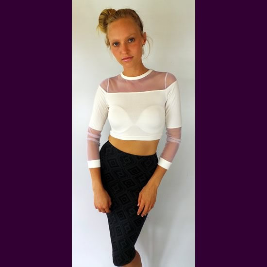 DCO White Mesh Crop Tops
