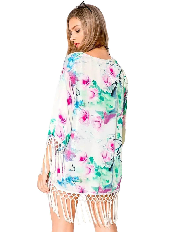 Long Sleeve Tasselled Kimonos